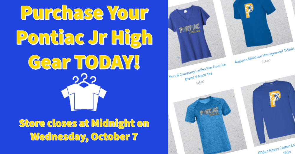 Purchase Pontiac Jr High Spirit Gear Today!