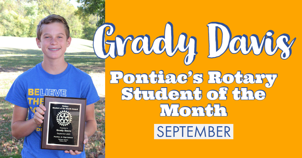 Grady Davis is Pontiac's September Student of the Month